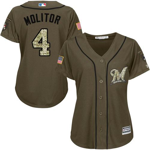 Brewers #4 Paul Molitor Green Salute to Service Women's Stitched MLB Jersey