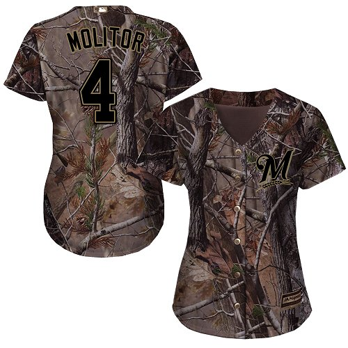 Brewers #4 Paul Molitor Camo Realtree Collection Cool Base Women's Stitched MLB Jersey