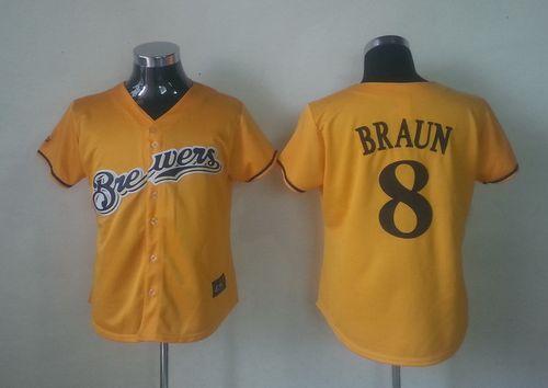 Brewers #8 Ryan Braun Yellow Alternate Cool Base Women's Stitched MLB Jersey