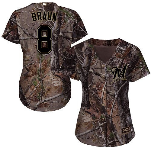 Brewers #8 Ryan Braun Camo Realtree Collection Cool Base Women's Stitched MLB Jersey