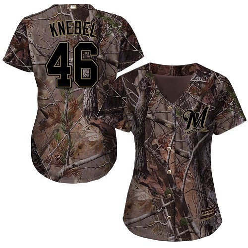 Brewers #46 Corey Knebel Camo Realtree Collection Cool Base Women's Stitched MLB Jersey