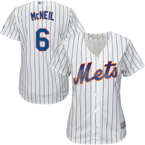 Mets #6 Jeff McNeil White(Blue Strip) Home Women's Stitched MLB Jersey
