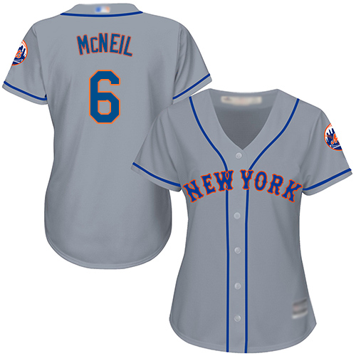 Mets #6 Jeff McNeil Grey Road Women's Stitched MLB Jersey