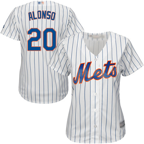 Mets #20 Pete Alonso White(Blue Strip) Home Women's Stitched MLB Jersey