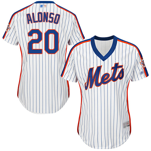 Mets #20 Pete Alonso White(Blue Strip) Alternate Women's Stitched MLB Jersey