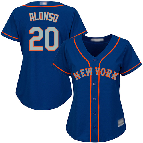 Mets #20 Pete Alonso Blue(Grey NO.) Alternate Women's Stitched MLB Jersey