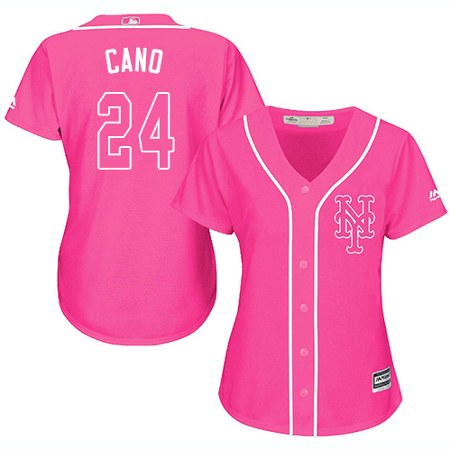 Mets #24 Robinson Cano Pink Fashion Women's Stitched MLB Jersey