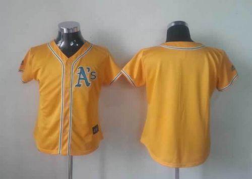 Athletics Blank Yellow Alternate Cool Base Women's Stitched MLB Jersey
