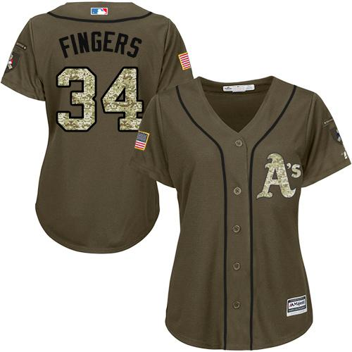 Athletics #34 Rollie Fingers Green Salute to Service Women's Stitched MLB Jersey