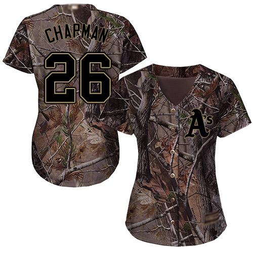 Athletics #26 Matt Chapman Camo Realtree Collection Cool Base Women's Stitched MLB Jersey