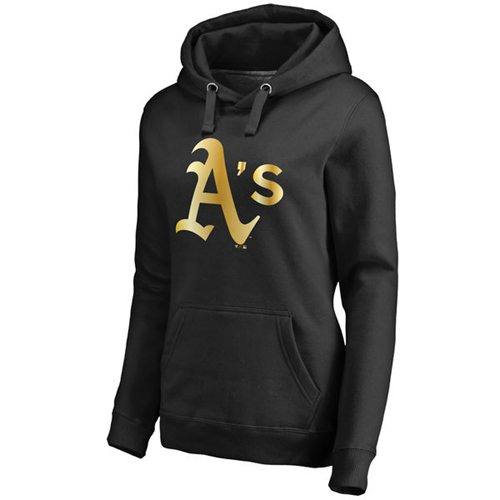 Women's Oakland Athletics Gold Collection Pullover Hoodie Black