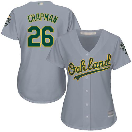 Athletics #26 Matt Chapman Grey Road Women's Stitched MLB Jersey