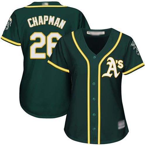 Athletics #26 Matt Chapman Green Alternate Women's Stitched MLB Jersey