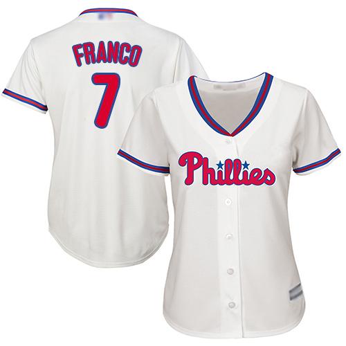 Phillies #7 Maikel Franco Cream Alternate Women's Stitched MLB Jersey