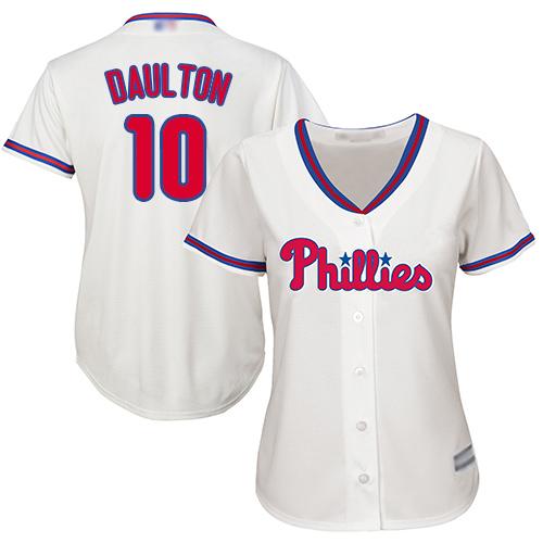 Phillies #10 Darren Daulton Cream Alternate Women's Stitched MLB Jersey