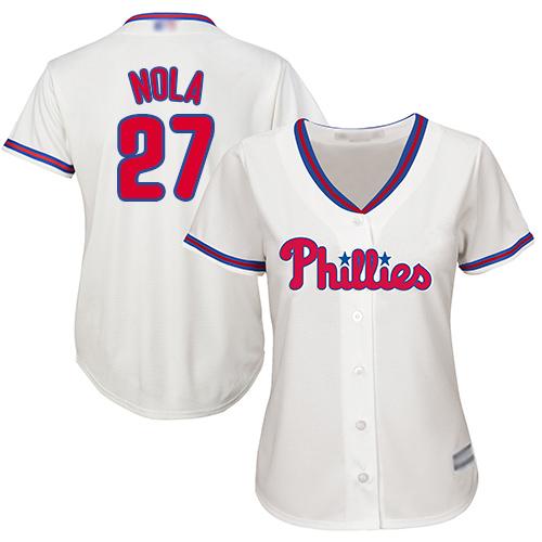 Phillies #27 Aaron Nola Cream Alternate Women's Stitched MLB Jersey