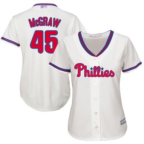 Phillies #45 Tug McGraw Cream Alternate Women's Stitched MLB Jersey