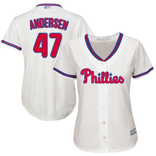 Phillies #47 Larry Andersen Cream Alternate Women's Stitched MLB Jersey