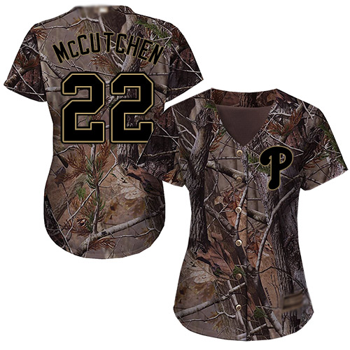 Phillies #22 Andrew McCutchen Camo Realtree Collection Cool Base Women's Stitched MLB Jersey
