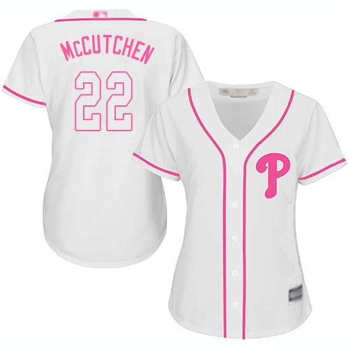 Phillies #22 Andrew McCutchen White/Pink Fashion Women's Stitched MLB Jersey