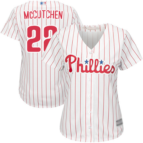 Phillies #22 Andrew McCutchen White(Red Strip) Home Women's Stitched MLB Jersey