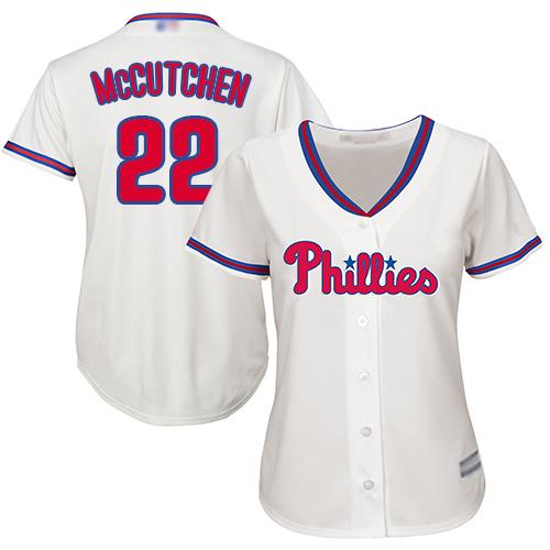 Phillies #22 Andrew McCutchen Cream Alternate Women's Stitched MLB Jersey