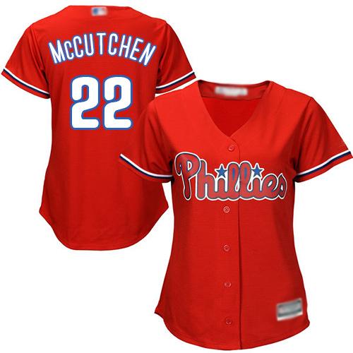 Phillies #22 Andrew McCutchen Red Alternate Women's Stitched MLB Jersey