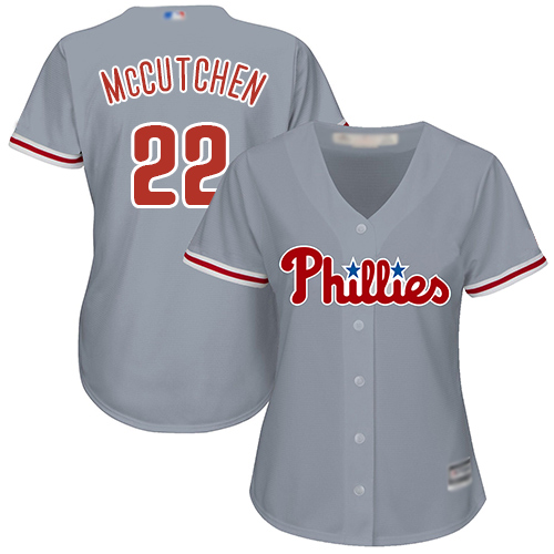 Phillies #22 Andrew McCutchen Grey Road Women's Stitched MLB Jersey