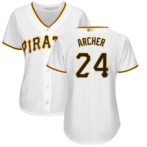Pirates #24 Chris Archer White Home Women's Stitched MLB Jersey