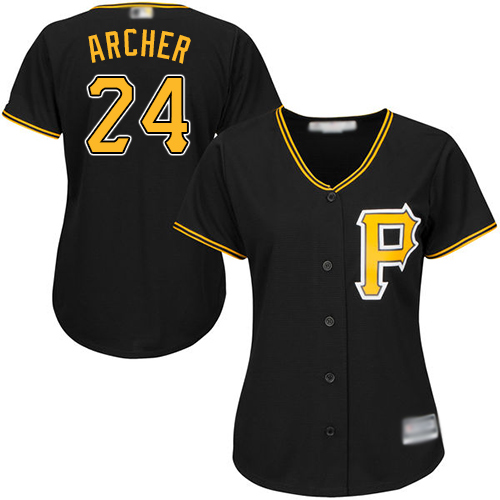 Pirates #24 Chris Archer Black Alternate Women's Stitched MLB Jersey