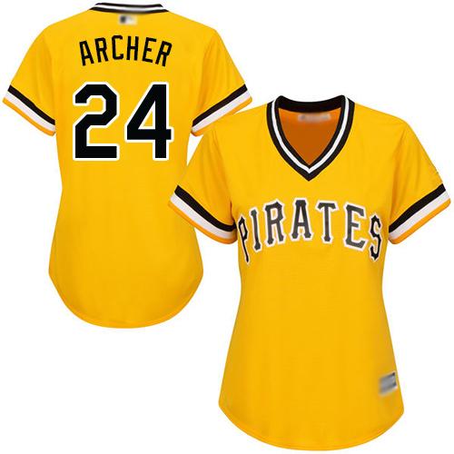 Pirates #24 Chris Archer Gold Alternate Women's Stitched MLB Jersey