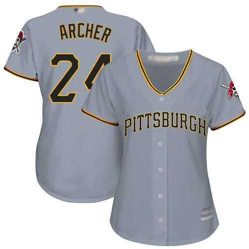Pirates #24 Chris Archer Grey Road Women's Stitched MLB Jersey