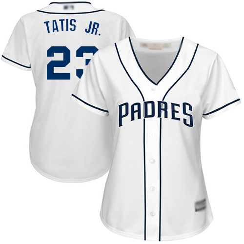 Padres #23 Fernando Tatis Jr. White Home Women's Stitched MLB Jersey