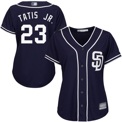 Padres #23 Fernando Tatis Jr. Navy Blue Alternate Women's Stitched MLB Jersey