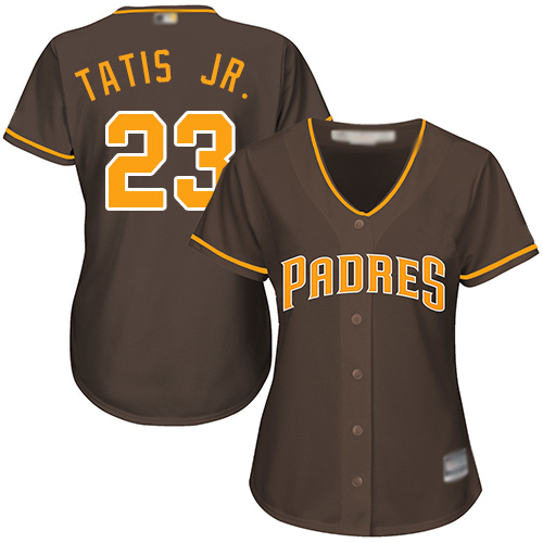 Padres #23 Fernando Tatis Jr. Brown Alternate Women's Stitched MLB Jersey