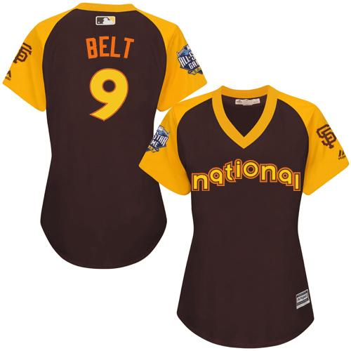 Giants #9 Brandon Belt Brown 2016 All-Star National League Women's Stitched MLB Jersey