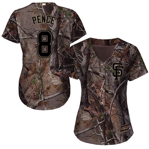 Giants #8 Hunter Pence Camo Realtree Collection Cool Base Women's Stitched MLB Jersey