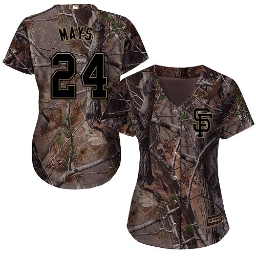 Giants #24 Willie Mays Camo Realtree Collection Cool Base Women's Stitched MLB Jersey