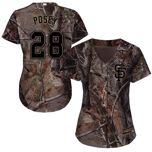 Giants #28 Buster Posey Camo Realtree Collection Cool Base Women's Stitched MLB Jersey