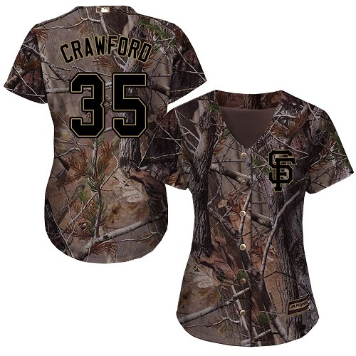 Giants #35 Brandon Crawford Camo Realtree Collection Cool Base Women's Stitched MLB Jersey