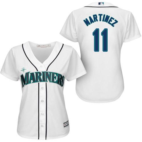 Mariners #11 Edgar Martinez White Home Women's Stitched MLB Jersey