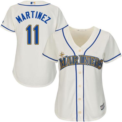 Mariners #11 Edgar Martinez Cream Alternate Women's Stitched MLB Jersey