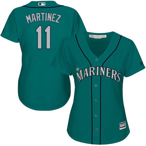 Mariners #11 Edgar Martinez Green Alternate Women's Stitched MLB Jersey