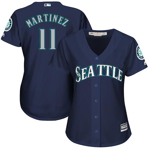Mariners #11 Edgar Martinez Navy Blue Alternate Women's Stitched MLB Jersey