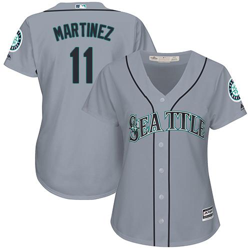 Mariners #11 Edgar Martinez Grey Road Women's Stitched MLB Jersey