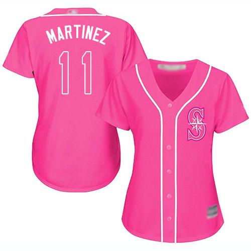 Mariners #11 Edgar Martinez Pink Fashion Women's Stitched MLB Jersey