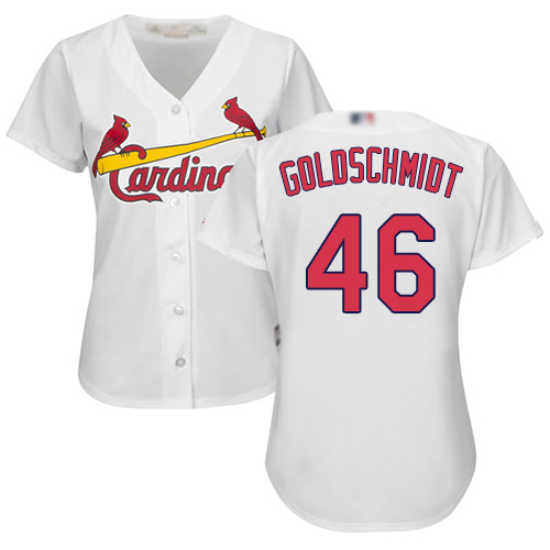 Cardinals #46 Paul Goldschmidt White Home Women's Stitched MLB Jersey