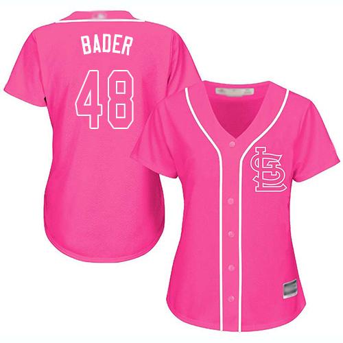 Cardinals #48 Harrison Bader Pink Fashion Women's Stitched MLB Jersey