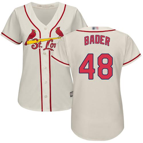 Cardinals #48 Harrison Bader Cream Alternate Women's Stitched MLB Jersey