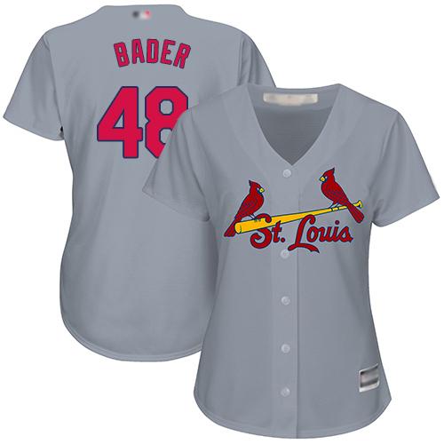 Cardinals #48 Harrison Bader Grey Road Women's Stitched MLB Jersey